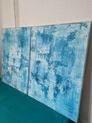 Duo de toiles 60 cm x 80 cm nuances de bleu azur.