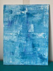Toile 60 cm x 80 cm nuances de bleu électrique.