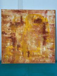 Toile 100 cm x 100 cm nuances d'orange et doré.