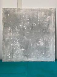 Toile 100 cm x 100 cm nuances de gris et argenté.