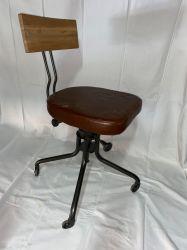 Chaise de bureau industrielle en cuir